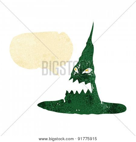 cartoon spooky witches hat with speech bubble