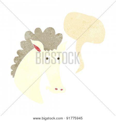 cartoon horse head with speech bubble