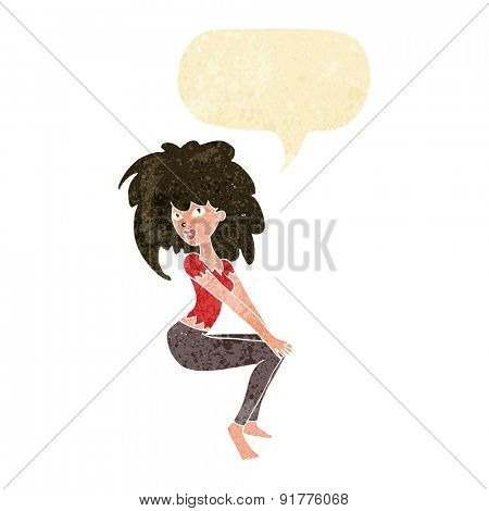 cartoon woman with big hair with speech bubble