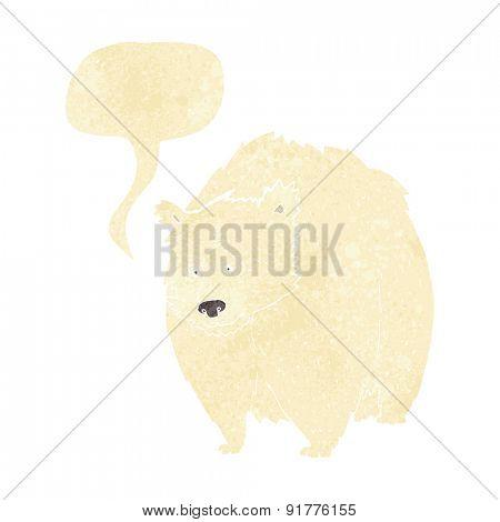 huge polar bear cartoon with speech bubble