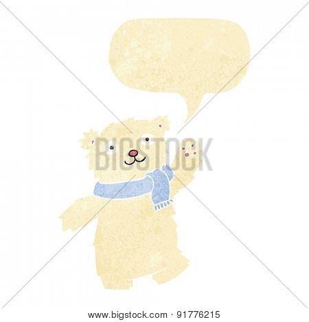 cartoon teddy bear wearing scarf with speech bubble