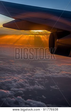 Aerial sunrise as viewed from plane