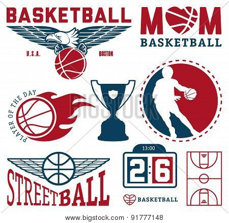 Set of vintage basketball badges and labels