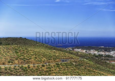 Mediterranean Sea Bay Near Cassis, Provence View From Mountains