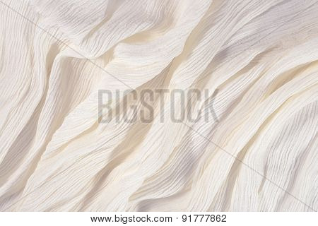 Crumpled White Fabric Close Up