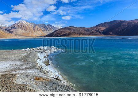 Frozen Water At Pangong Lake