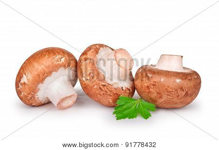 Three Fresh Champignons With Parsley Isolated On White Background
