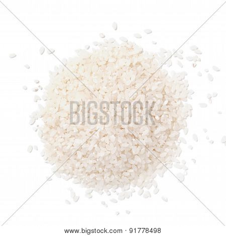Pile Of White Rice Isolated On White Background.