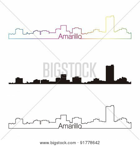Amarillo Skyline Linear Style With Rainbow