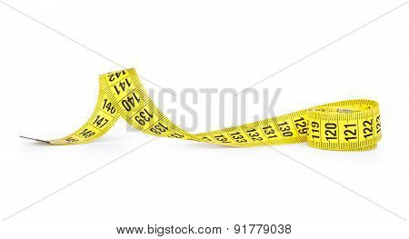 Yellow Measuring Tape Of The Tailor Isolated On White Background