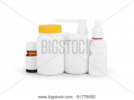 Jars And Medical Preparations Isolated On White
