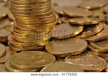 Heap Of Ukrainian Coins
