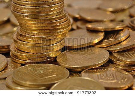 Heap Of Ukrainian Coins
