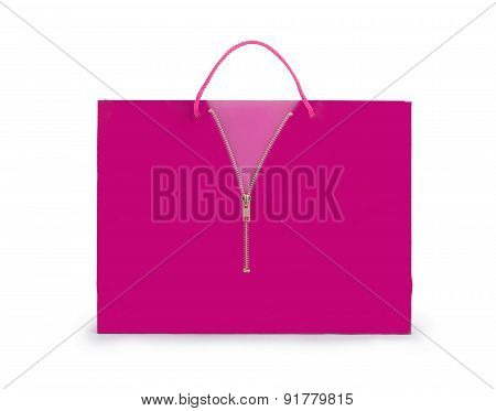 Shopping Bag With A Zipper On A White