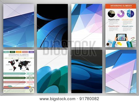 Creative Blue Backgrounds And Abstract Concept Vector Icons