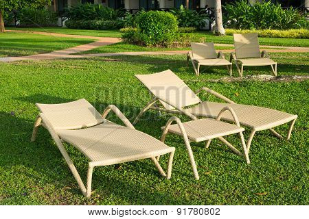 Bleach Chairs Under The Palm Tree Viewing The Sunset