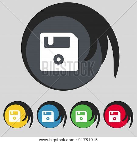 Floppy Icon Sign. Symbol On Five Colored Buttons. Vector
