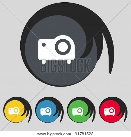 Projector Icon Sign. Symbol On Five Colored Buttons. Vector