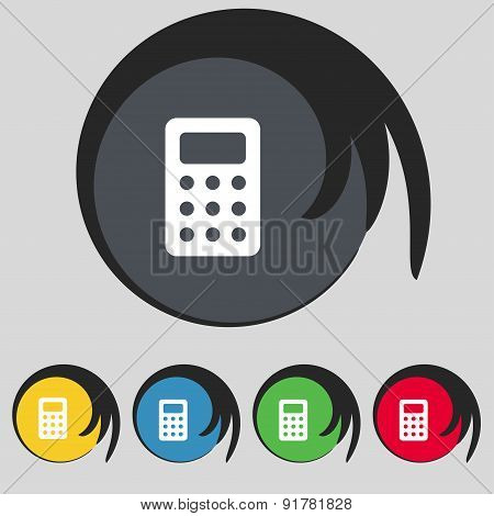 Calculator, Bookkeeping Icon Sign. Symbol On Five Colored Buttons. Vector