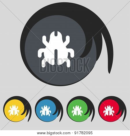 Software Bug, Virus, Disinfection, Beetle Icon Sign. Symbol On Five Colored Buttons. Vector