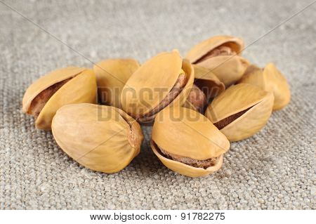 Pistachio Nuts On A Light Background