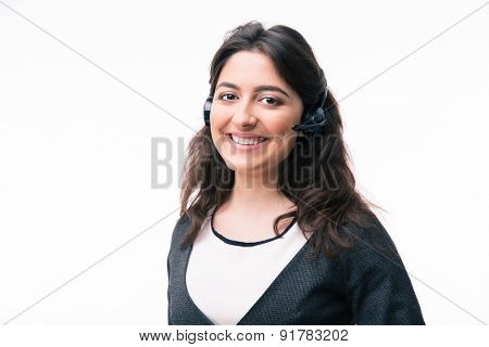 Cheerful woman assistant operator in headset isolated on a white background. Looking at camera