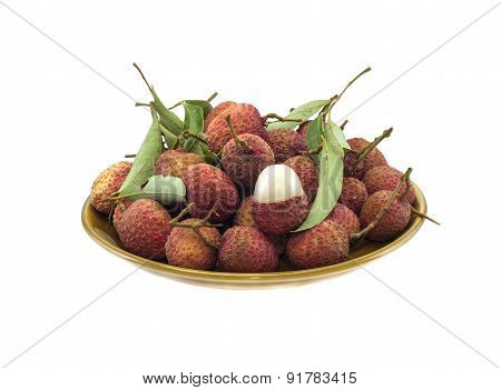 Lychee (litchi Chinensis) Against White Background