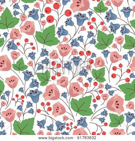 Bell flowers and berries seamless pattern