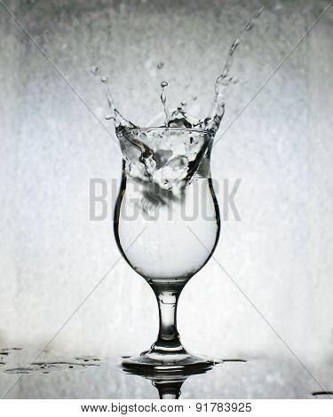 Ice Cubes Splashing Into Glass Of Water, Still Life, Grunge Background