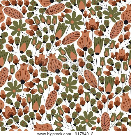 Retro stylized bellflowers seamless pattern