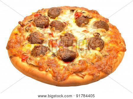 Freshly Baked Meatball Pizza