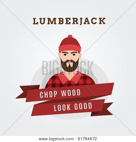 Vector Illustration of a lumberjack forester logger