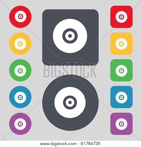 Cd Or Dvd Icon Sign. A Set Of 12 Colored Buttons. Flat Design. Vector