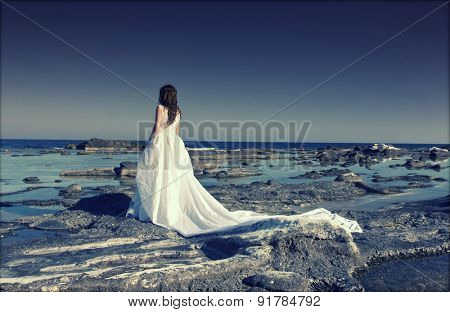Beautiful bride standing on a cliff on the sea - retro styled photo