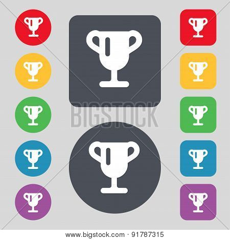 Winner Cup, Awarding Of Winners, Trophy Icon Sign. A Set Of 12 Colored Buttons. Flat Design. Vector