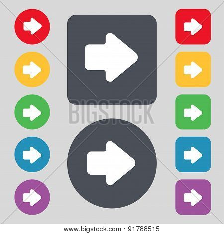 Arrow Right, Next Icon Sign. A Set Of 12 Colored Buttons. Flat Design. Vector