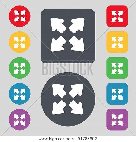 Deploying Video, Screen Size Icon Sign. A Set Of 12 Colored Buttons. Flat Design. Vector