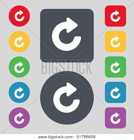 Upgrade, Arrow Icon Sign. A Set Of 12 Colored Buttons. Flat Design. Vector