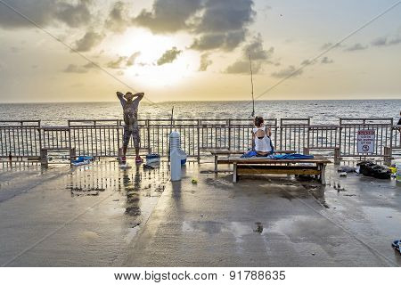 People At Fishing Pier In Sunny Isles Beach , Florida