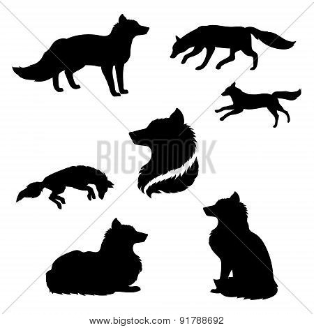 Fox Set Vector