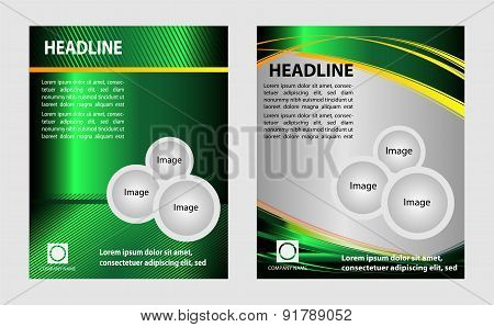 Green brochure with circles and wave for template leaflet booklet design