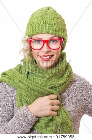 Smile Trendy Woman Wearing Eyewear With Wool Scarf And Cap, Isolated On White Background. Girl Weari