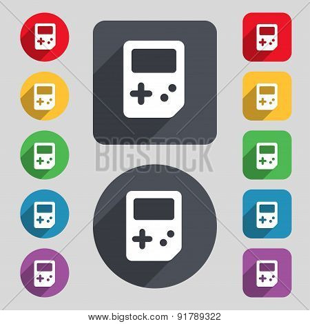 Tetris Icon Sign. A Set Of 12 Colored Buttons And A Long Shadow. Flat Design. Vector