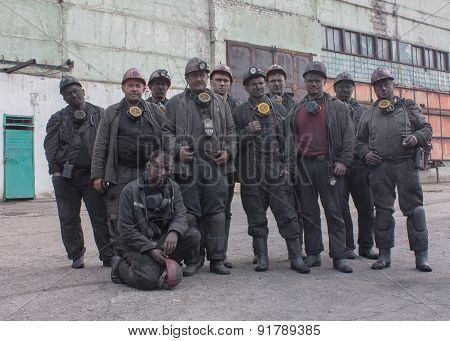Krasny Luch,  Ukraine - August 07, 2013: Miners The Mine Krasnokutskaya After Work Shift