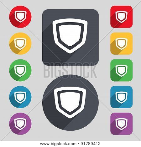 Shield Icon Sign. A Set Of 12 Colored Buttons And A Long Shadow. Flat Design. Vector