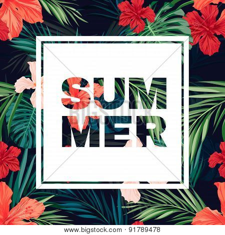 Bright colorful tropical summer poster with leaves and flowers