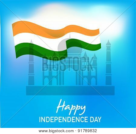 illustration of wavy Indian flag with monument, independence day