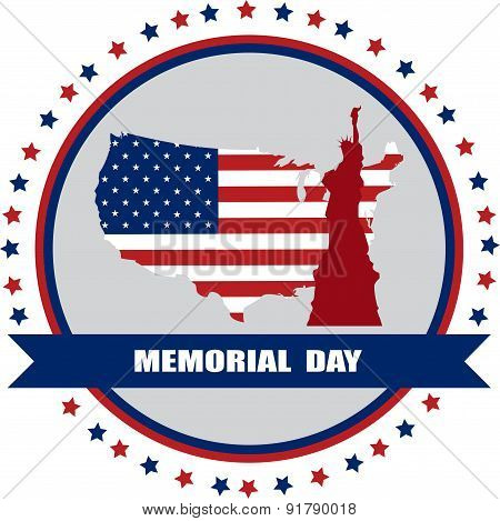memorial day of America, USA map with statue of liberty