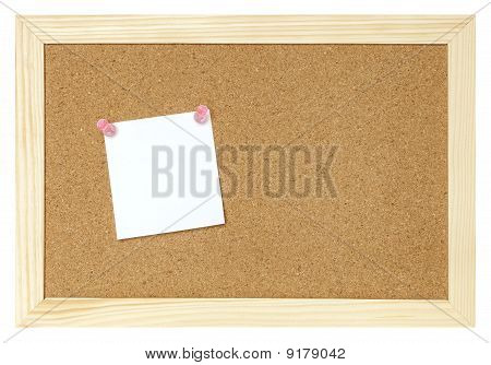 Blank Paper On Cork Board Isolated