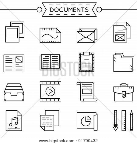 Set Of Linear Documents Icons